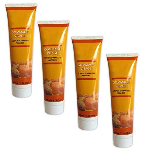 Lot de 4 Crèmes gommage visage aux Noyaux d'abricots & Amandes 150 ml
