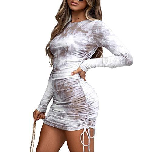 Loalirando Damen-Kleid mit langen Ärmeln, elegant, sexy, Cocktail, Party, Zeremonie, Winter, Herbst, Figurbetonte Passform, Beige M