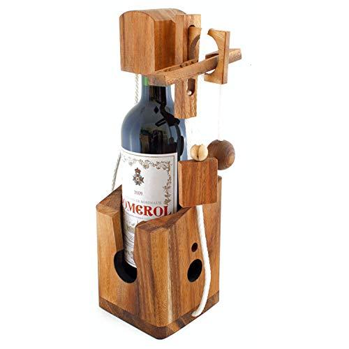 GOODS+GADGETS Dont Break The Bottle Flaschen Tresor Safe Geduldsspiel Magisches 3D Puzzle aus Holz Das Knobelspiel für Erwachsene Flaschenpuzzle Denkspiel