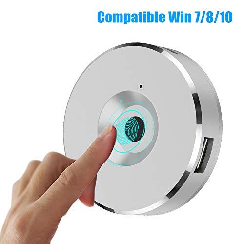 USB-Fingerabdruckleser für Windows 10 8 7, Fingerprint HUB Biometrics Anmelden für PC und Laptops (Silber)