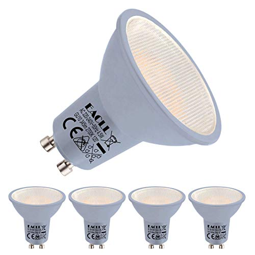 EACLL Bombillas LED GU10 2700K Blanco Cálido, AC 230V 4.5W 345 Lúmenes Equivalente 35W Halógena. 120 ° Luz Blanca Cálida...