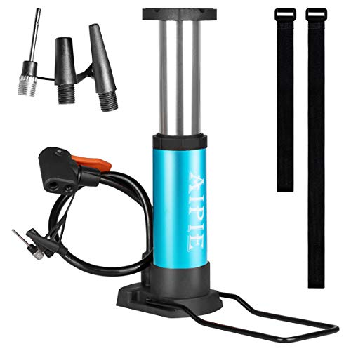 AIPIE Bike Pump with 5 Valves 2 Straps Protable Mini Bicycle Floor Pump Air Pump Presta Schrader Tire Pump with Basketball Needle, Inflating Valves for Toy Balloon Hand/Foot Pump Inflator