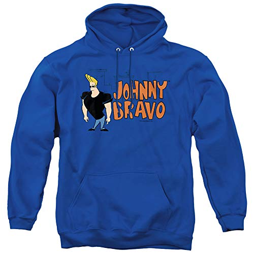 Johnny Bravo Johnny Logo Unisex Adult Pull-Over Hoodie, Royal Blue, 2X-Large