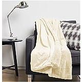 Amazon Basics Faux Fur Striped Throw Blanket - 50 x 60 Inch, Ivory
