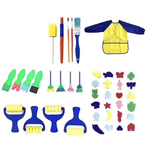 NaisiCore 42 PCS Early Learning Kindermalen Kit Schwamm Malerei Pinsel Zeichenwerkzeuge Malen mit Wasserdichtes Painting Smock Schürze für Kleinkind-Kind-Baby-Versorgungs