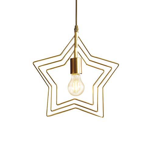 Creatividad Estrella Colgante de Luz Modernas Dormitorio Iluminación Colgante Dorado Cobre Lámpara Colgante Altura Ajustable Lámpara de Suspensión Rotativo Sala de Estar Comedor L31.5CM 1×E27