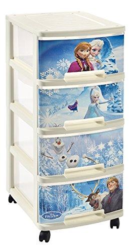 CURVER Estantería de 4 Ruedas con Papelera Frozen 4 cajones Caja de Almacenamiento Torre