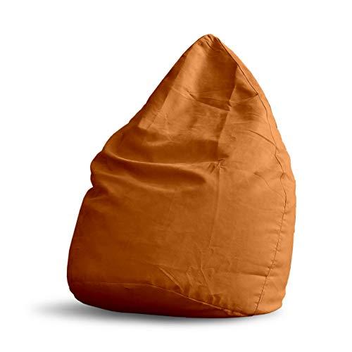 Lumaland Pouf Poire XL 220 L - Ligne Confort - Fauteuil Poire Adulte et Enfant pour Salon - 65 x 80 cm - Bean Bag Pouf Intérieur avec Coutures Solides - Orange