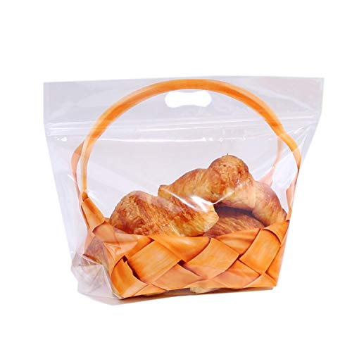 Plastic Bread Bag, 50 Pcs Bakery Bag Treat Bag Party Favor Bag for Cookies Candy Chocolate Dessert (12.6x10.8')