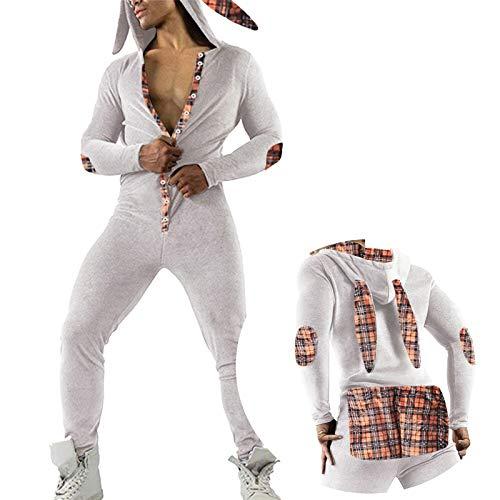 Sinifer Men's Onesies Pajamas Rabbit Ears Hooded One Piece Union Suit Functional Butt Buttoned Flap Pjs Sleepwear Nightwear Long Sleeves Bunny Jumpsuit Bodysuit Button Down Playsuit Romper(White S)