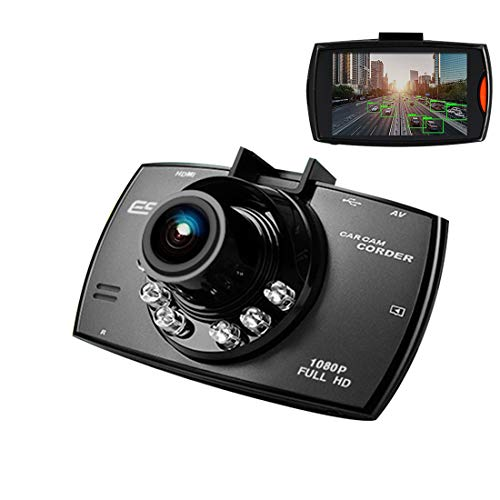 Cámara de Coche 1080P, Dash CAM 2.4 Pulgada LCD Conducir Grabadora 170°Ángulo con WDR, G-Sensor, Detección de Movimiento, Grabación en Bucle, Monitor de Aparcamiento