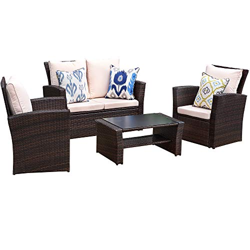 Wisteria Lane Outdoor Furniture Set,5 Piece Patio Conversation Set Brown Wicker Sectional Sofa Couch Rattan Chair Table,Beige