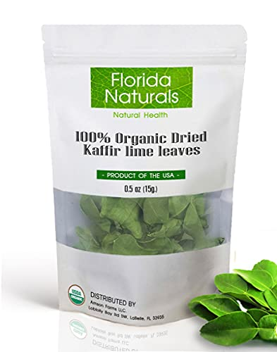 FLORIDA NATURALS : Organic Kaffir Lime Leaves, Dried [ USA grown and packaged] Key Ingredient in Thai cuisine   Whole Uncrumpled Leaves   0.5 oz (15g.)