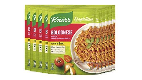 Knorr Spaghetteria Bolognese Pasta in Fleisch-Tomaten-Sauce, 10er Pack (10 x 160 g)