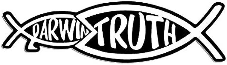 Christian Truth Eating Darwin Fish Shaped Sticker (jesus christ intelligent design god)- Sticker Graphic Decal