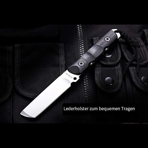 NedFoss Tanto Messer Defender, Jagdmesser scharf, aus D2 Stahl, G10 Griff mit Kydex Scheide, 59-60HRC, Outdoormesser, Extra scharf(Schwarz)
