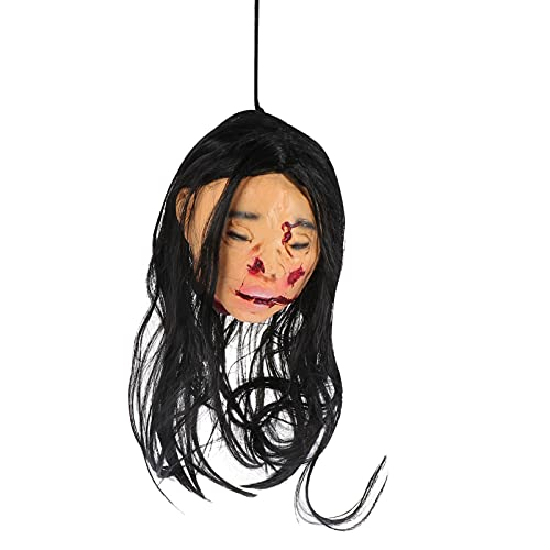 CLISPEED Cabeza Colgante de Halloween Horrible Decoración de La Casa Embrujada Cabeza Humana de Látex con Pelo Largo Decoración Colgante de Jardín de Halloween para Accesorios de Fiesta de