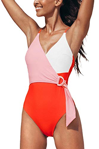 CUPSHE Women's One Piece Swimsuit Color Block Wrap Crisscross Bathing Suit, M