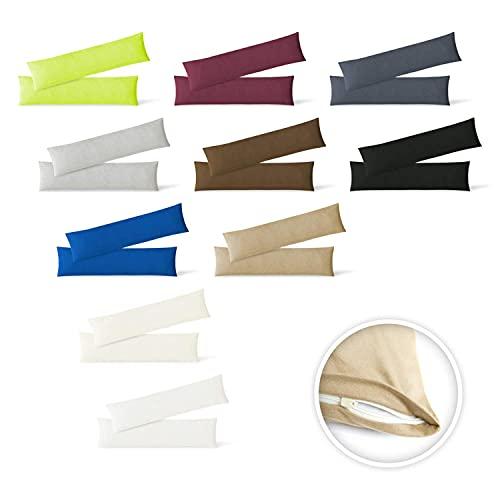 EXKLUSIV HEIMTEXTIL Jersey Kissenbezug Hülle 2 Sparpack Set mit Reißverschluss hochwertige Qualität 40 x 145 cm anthrazit