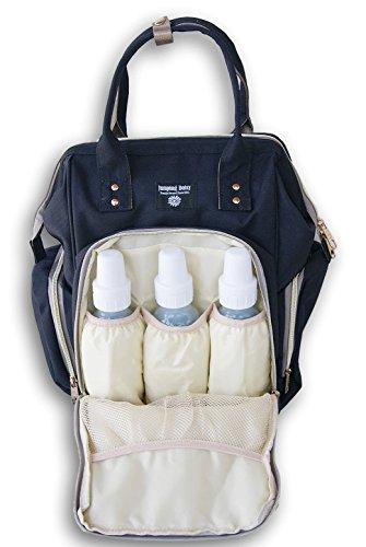 Jumping Daisy - Mochila para pañales de bebé para mujeres o hombres - Capacidad de bolsillo con cremallera para botellas de bebé grandes de 8 onzas negro negro