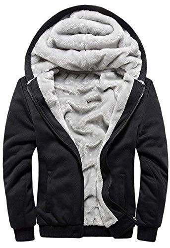 VSUSN Herren Hoodie mit Reißverschluss Fleece Innenseite Kapuzenpullover Winter Warm Hoodie Pullover mit Kapuze Verdickte Kapuzenjacke Sweatjacke Winterjacke (Schwarz, XL)
