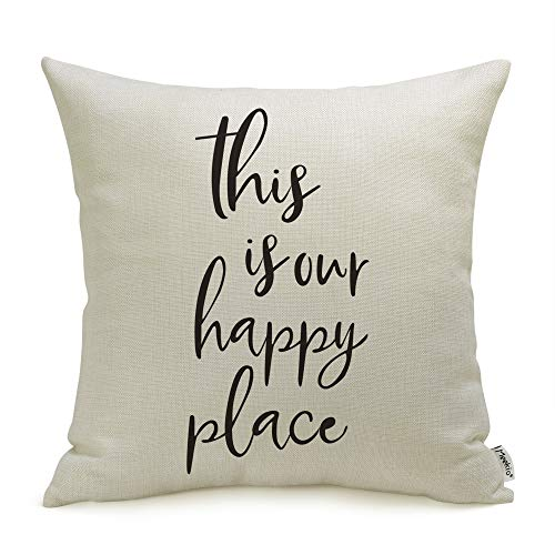 Meekio Farmhouse Pillow Covers with This is Our Happy Place Quotes 18 x 18 Inch Farmhouse Decor Housewarming Gifts for The Home
