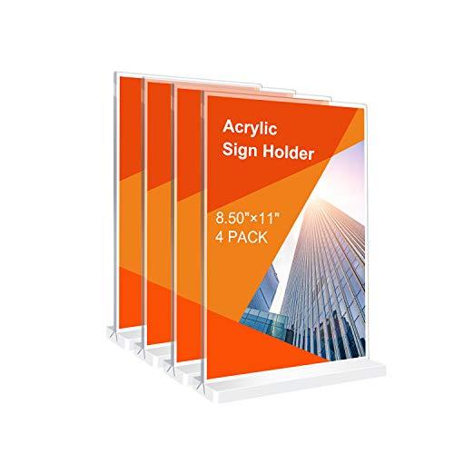 4 soportes de acrílico para letreros de 21,8 x 27,9 cm para restaurantes, oficinas, tiendas, carga inferior, visualización de doble cara, soporte de señal en forma de T