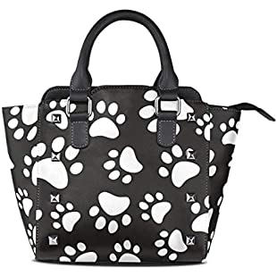 Women's Handbags Paw Footprints Of Dog Cat Black And White Tote