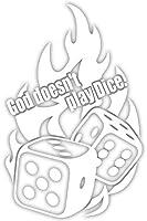 カッティングステッカー サイコロ(God doesn't play Dice) 約195mmX約125mm ホワイト 白