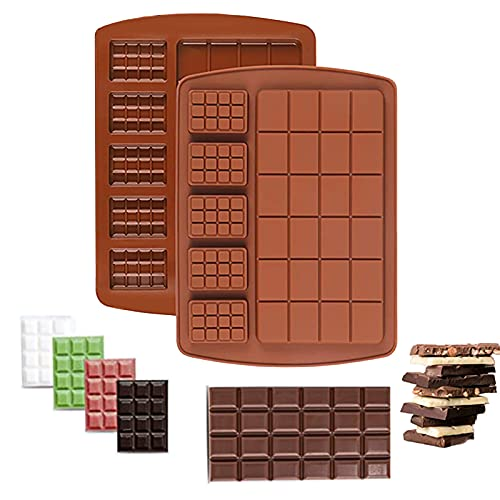 2 Pack SiliconeChocolate Bar Mold Break Apart Protein Energy Bar Candy Molds Waffle MiniCandy Bar Tray 2 IN 1 Design