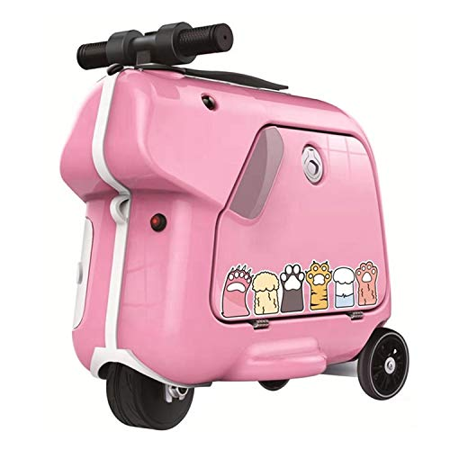 AAGYJ KidsChildren's Luggage Box, Riding Box, Travel Artifact Boarding Toy, Smart Handle Hi-fi Music Flash Wheel 15L Large Capacity Trolley Case, Children's Suitcase,Pink