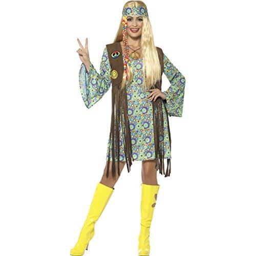 NET TOYS Hippie Kostüm Damen Flower Power Kleid L (42/44) 70er Jahre Kleidung Frau Boho Karnevalskostüm