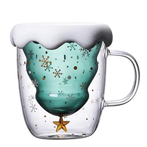 Luccase 300ml Verre Tasse Double Couche, Arbre de Noël Étoile Verre Borosilicate résistant à la Chaleur Café, pour thé, Cappuccino, Lait, Jus Température: -20 ° C ~ 180 ° C Trou Anti-Explosion
