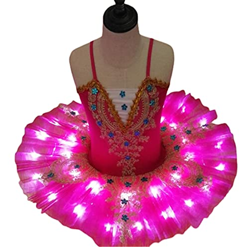 SHADIOA Tut de Ballet con luz LED, Disfraz de Lago de los cisnes, Vestido de Bailarina para nias, Vestido de Ballet para nios, Trajes de Escenario de Baile,Rose Red,140CM