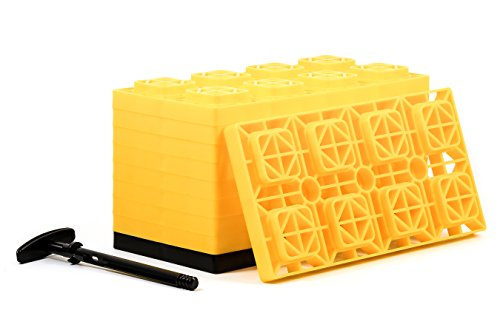 Camco FasTen 4x2 Leveling Block For Dual Tires, Interlocking Design Allows Stacking To Desired Height, Includes Secure T-Handle Carrying System, Yellow (Pack of 10) (44515)