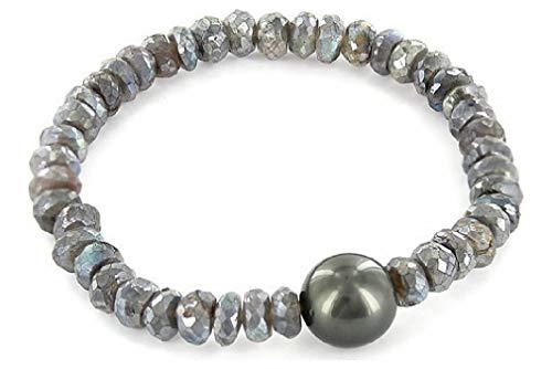 Luna-Pearls Perlenarmband Tahitiperle 12-13 mm Labradorit 3001214