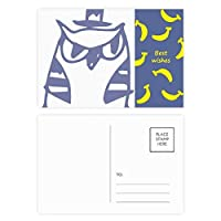 漫画の帽子の鳥保護動物のペットの恋人 バナナのポストカードセットサンクスカード郵送側20個