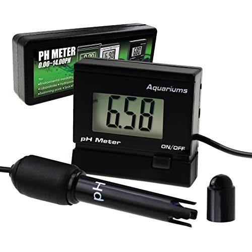 Digital pH Monitor Meter ATC 0~14.00pH Replaceable Electrode Probe BNC Water Quality Monitoring Tester Kit Aquarium Hydroponics Spa Tank Pool Laboratories Mini Portable