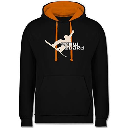 Wintersport - Snowboard - S - Schwarz/Orange - Snowboard Hoodie - JH003 - Hoodie zweifarbig und Kapuzenpullover für Herren und Damen