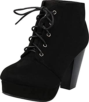 Forever Camille-86 Women s Comfort Stacked Chunky Heel Lace Up Ankle Booties Black 8.5