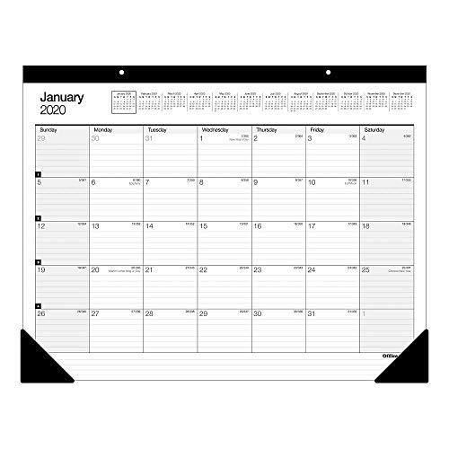 Office Depot Brand Monthly Desk Pad Calendar, 22' x 17', White, January to December 2020, SP24D00