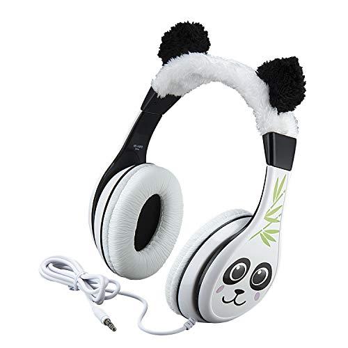 Panda Kids Headphones, Adjustable Headband, Stereo Sound, 3.5Mm Jack, Wired Headphones for Kids, Tangle-Free, Volume Control, Foldable, Childrens Headphones Over Ear for School Home, Travel