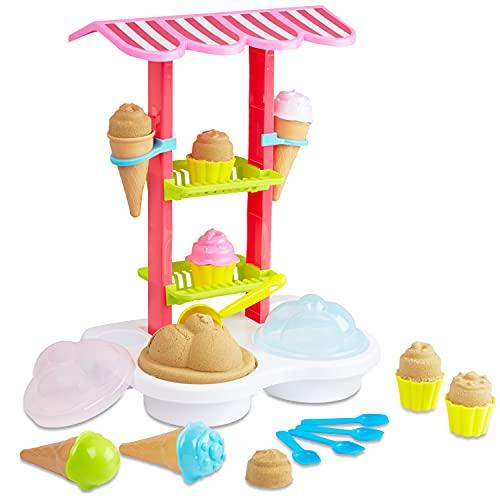 KreativeKraft Sabbia Magica Per Bambini, Gelateria Giocattolo Con Formine E Sabbia Modellabile, Giochi Da Esterno Per Giardino, Spiaggia