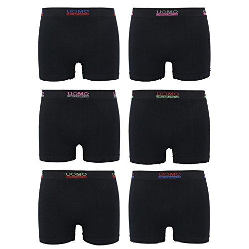 ReKoe 6er PackMicrofaser Uomo SchwarzUnterwäsche Pants Herren Boxershorts Fitness, Größe:M/L