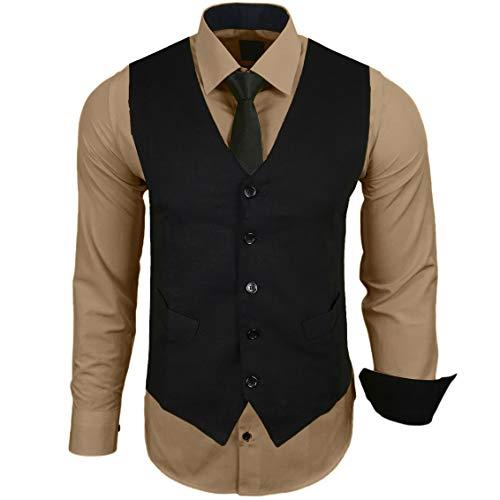 Rusty Neal Herren Hemd mit Weste Krawatte Anzugs Sakko Business Hochzeit Freizeit Hemden Set wählbar RN-44-HWK, Größe:XL, Farbe:Beige