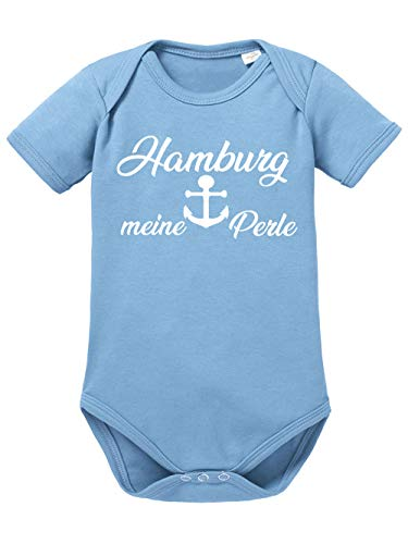 clothinx Hamburg, Meine Perle, Lustiges Fussballmotiv Baby Body Bio Himmelblau Gr. 50-56
