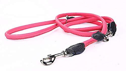 Capadi K0824 Hoogwaardige ronde verstelbare hondenriem sterke nylon omhuld met zacht leer, roze, breedte 12 mm, lengte 220 cm