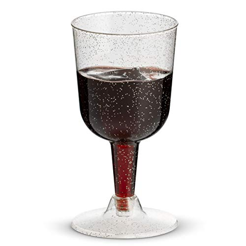 100-Pack Silver Glitter Disposable Dessert Cups | 6 oz. Clear Hard Plastic Fancy Wine Cups (100-Pack) by Bloomingoods