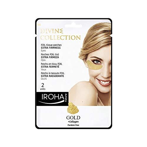Iroha Nature - Parches Foil para Ojos Divine, Extra Reafirmantes, con Oro 24k y colágeno, 2 unidades | Parches Contorno Ojos Oro 24k Extra Reafirmantes
