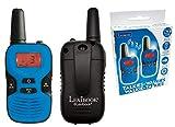 LEXIBOOK- Par de walkie talkies, Rango transmisión de 5km, baterías Recargables, Sonido Digital, Juego de comunicación para Interiores y Exteriores, Clip para cinturón, Color Negro & Azul